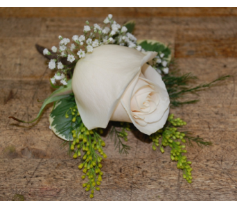 Cream Rose Boutonniere in Scarborough ON, Helen Blakey Flowers