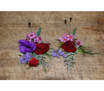 Purple passion boutonnieres in Scarborough ON, Helen Blakey Flowers