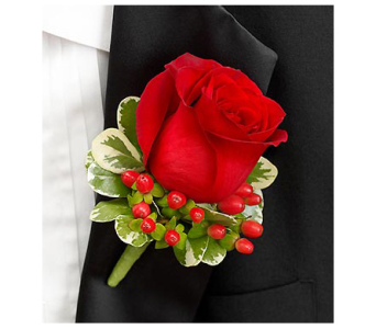 All Red Boutonniere in Virginia Beach VA, Fairfield Flowers