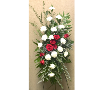Red and White Remembrance Easel Arrangement in Wyoming MI, Wyoming Stuyvesant Floral