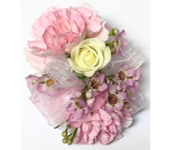 Pink minis & white rose child's wrist corsage in Wyoming MI, Wyoming Stuyvesant Floral