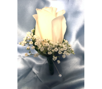 Classic White Rose Boutonniere with Baby's Breath in Bethesda MD, Suburban Florist