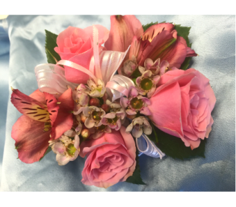 Pink Rose & Lily Corsage in Bethesda MD, Suburban Florist