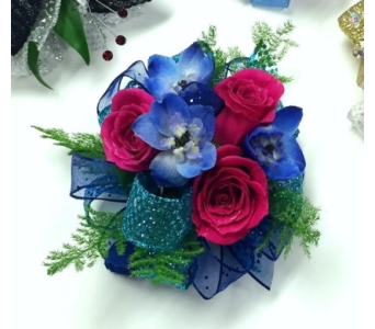 Jewel-tone Wrist Corsage in Schofield WI, Krueger Floral and Gifts
