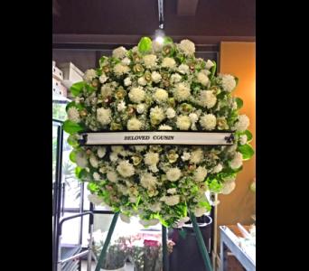 Sympathy Wreath With Green Cymbidium In Honolulu HI, Stanley Ito Florist