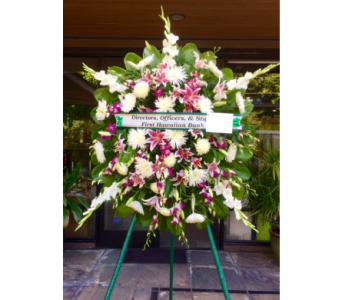 Sympathy Wreath With Lily And Orchid In Honolulu HI, Stanley Ito Florist