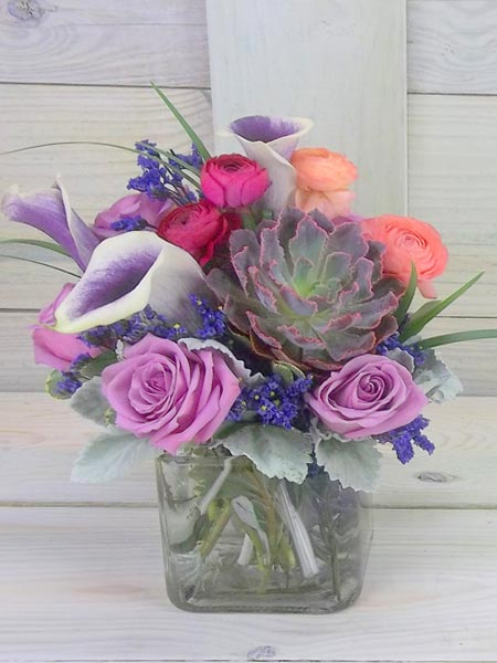 Royal Hues with Succulent and Ranunculus in Smithtown NY, James Cress Florist