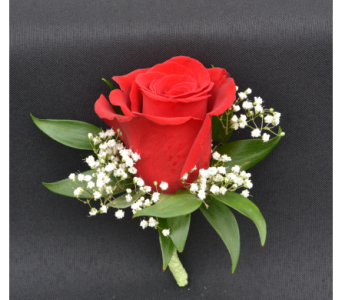 Single Rose with Babies Breath Boutonniere in Zeeland MI, Don's Flowers & Gifts
