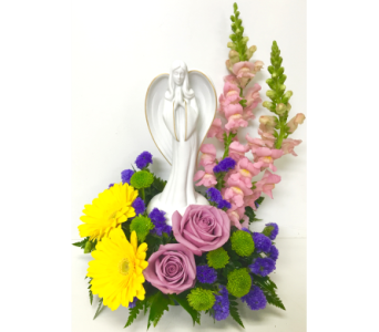 Porcelain Angel in Colorful Fresh Arrangement in Wyoming MI, Wyoming Stuyvesant Floral