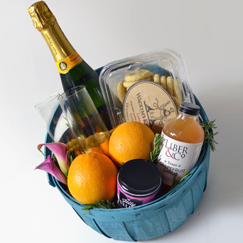 Champagne Brunch Gift Basket in Dallas TX, Dr Delphinium Designs & Events