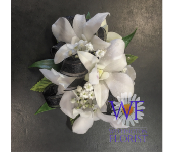 White orchid wristlett with black trim in Wellington FL, Wellington Florist