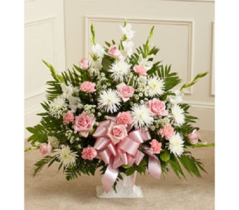 Tribute Floor Basket - Pink and White (Standard) in Largo FL, Rose Garden Flowers & Gifts, Inc