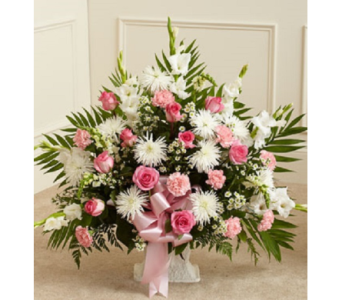 Tribute Floor Basket - Pink and White (Deluxe) in Largo FL, Rose Garden Flowers & Gifts, Inc
