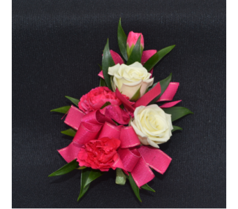2 Sweetheart Roses with Mini Carnations Corsage in Zeeland MI, Don's Flowers & Gifts