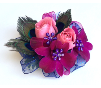 Purple Pink & Peacock Wrist Corsage in Schofield WI, Krueger Floral and Gifts