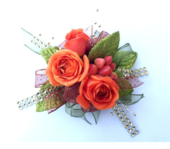 Orange Berry Wrist Corsage in Schofield WI, Krueger Floral and Gifts
