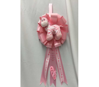 It's a Girl Ribbon with Zebra  in Dearborn MI, Fisher's Flower Shop