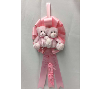 It's Twin Girls Ribbon with Bears in Dearborn MI, Fisher's Flower Shop