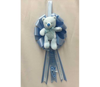 It's a Boy Ribbon with Bear  in Dearborn MI, Fisher's Flower Shop