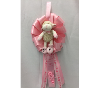 It's a Girl Ribbon with Lamb in Dearborn MI, Fisher's Flower Shop