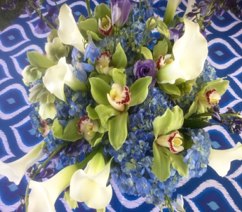 Blue and Cream in Vero Beach FL, Artistic First Florist