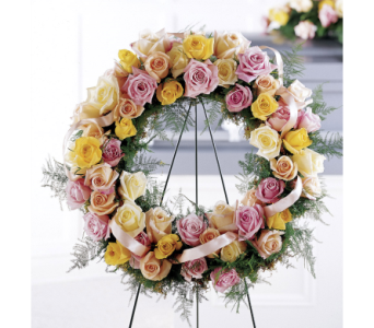 Vibrant Sympathy Wreath in Bowmanville ON, Van Belle Floral Shoppes
