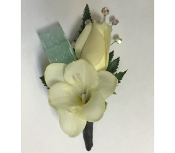 Sweetheart & Freesia with Aqua Boutonniere in Wyoming MI, Wyoming Stuyvesant Floral