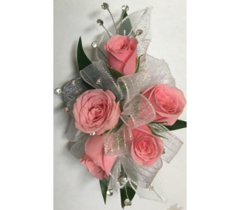 Pink Spray Rose with Bling Wrist Corsage in Wyoming MI, Wyoming Stuyvesant Floral