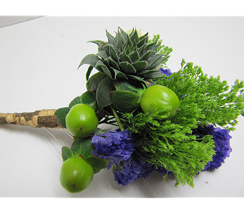 Blue & Green Boutonniere in Traverse City MI, Teboe Florist