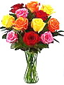 FF157  Assorted Colored Roses Arranged in Oklahoma City OK, Array of Flowers & Gifts