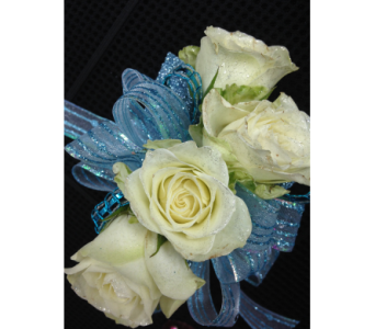 White spray rose wrist corsage in Gainesville FL, Floral Expressions Florist