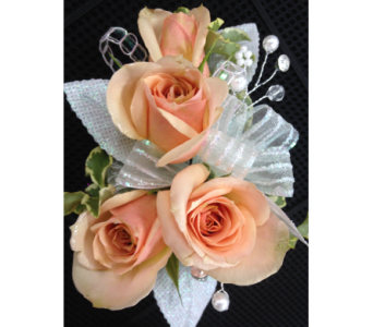 Peach spray rose wrist corsage in Gainesville FL, Floral Expressions Florist