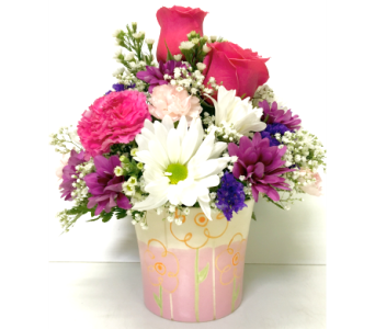 Spring Ceramic Fresh Arrangement with Roses in Wyoming MI, Wyoming Floral