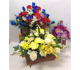Welch''s Silk Cemetery Baskets in Lynn MA, Welch Florist