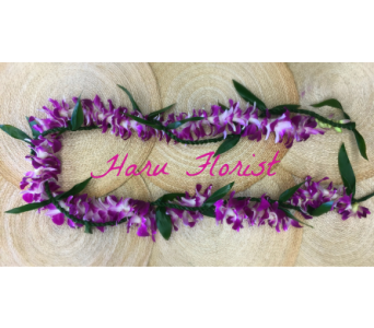 Open Ti Leaf Intertwined with Purple Orchid Lei in Los Angeles CA, Haru Florist