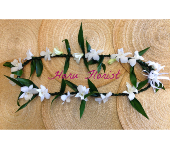 Closed Ti Leaf Lei with Orchids in Los Angeles CA, Haru Florist