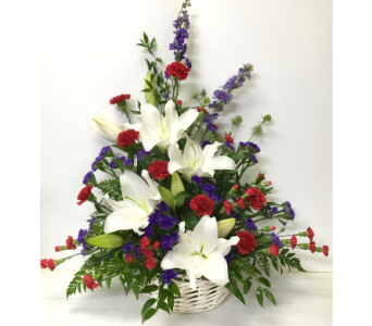 Red, White, and Blue Sympathy Wicker Basket in Wyoming MI, Wyoming Stuyvesant Floral