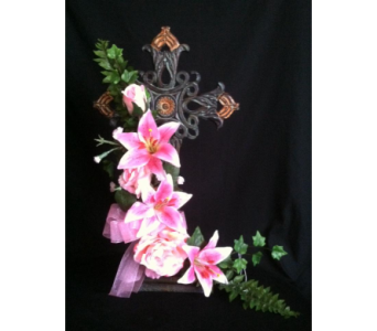 Standing Iron Cross/  Pink flowers in New Iberia LA, Breaux's Flowers & Video Productions, Inc.