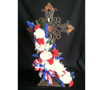 Standing Iron Cross With Red , White & Blue in New Iberia LA, Breaux's Flowers & Video Productions, Inc.