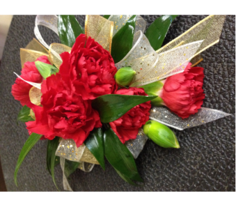 Prom Corsage-Red Miniature Carnations in Newton NC, Newton Florist