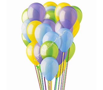 25 Lt Blue, Yellow, Green & Lavender Latex by 1-800-balloons