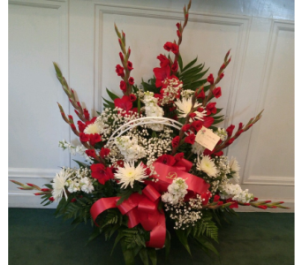 Red And White Funeral Basket in Louisville KY, Hedman's Suburban Florist
