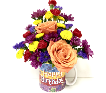 To Celebrate Birthday Mug - Designed One-Sided in Wyoming MI, Wyoming Stuyvesant Floral