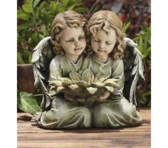 Twin Angels with Sunflowers in Warren MI, Downing's Flowers & Gifts Inc.