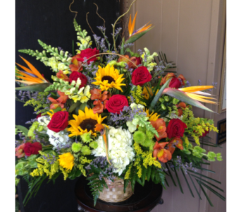 Tropical Sunrise Memorial Flowers in Chattanooga TN, Chattanooga Florist 877-698-3303