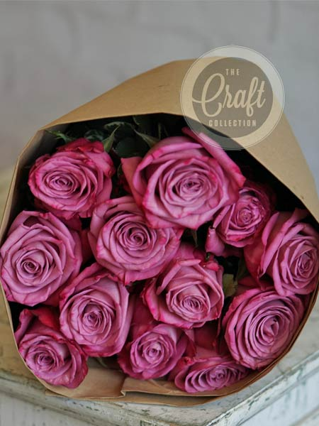 Wrapped Roses in Purple in Manchester NH, Chalifour's Flowers