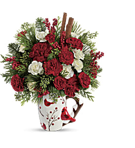 Send a Hug Christmas Cardinal by Teleflora in Lakehurst NJ, Colonial Bouquet