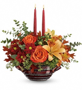 Teleflora's Autumn Gathering Centerpiece in St. Petersburg FL, Artistic Flowers