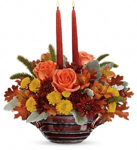 Teleflora's Celebrate Fall Centerpiece in Auburn ME, Ann's Flower Shop