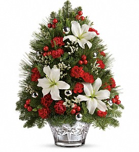 Teleflora's Festive Trimmings Tree in Visalia CA, Flowers by Peter Perkens Flowers Inc.